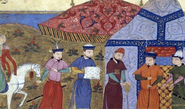 Монголы идут с охоты, неся добычу