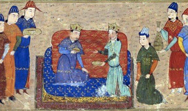 Чингисхан с невестой и прислугами