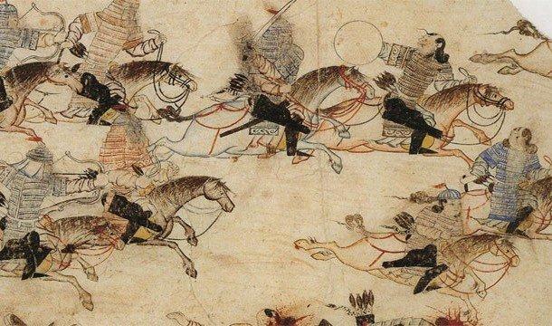 Монгольская армия идет в атаку