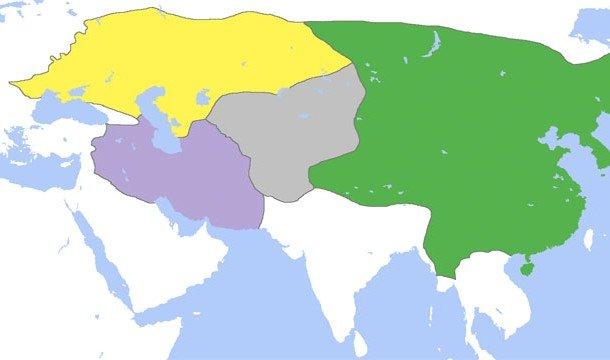 Территория Монголськой Империи с захваченными землями