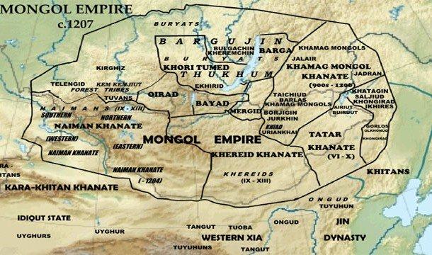 карта Монгольской Империи на 1207 год