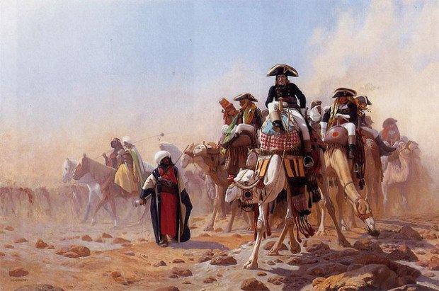 Наполеон в пустыне на верблюде