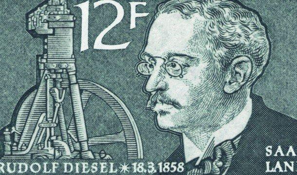 Немецкая почтовая марка с портретом Рудольфа Дизеля