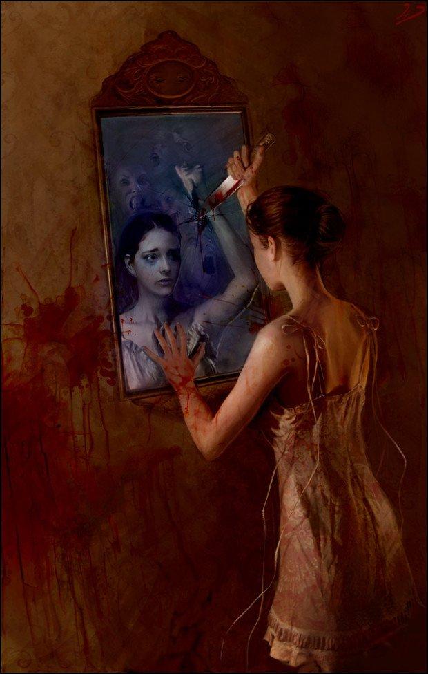 Девушка с ножом перед зеркалом