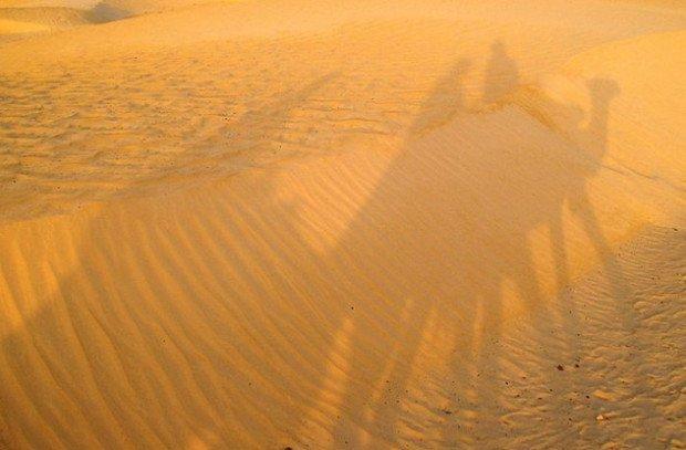 Тени верблюдов с наездниками на песках пустыни
