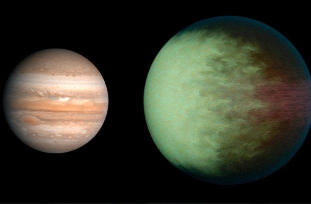 Сравнение размеров Юпитера и планеты Кеплер 7В