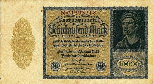 Банкнота номиналом 10 000 марок образца 1922 года