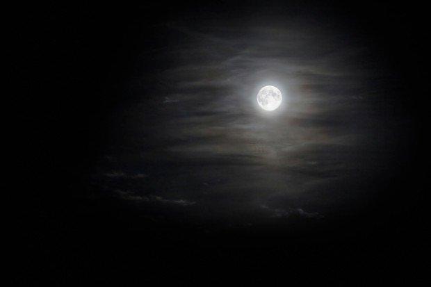 Полная Луна в ночном небе
