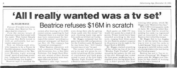 Газетная вырезка, в которой идёт речь о лотерее Beatrice Co