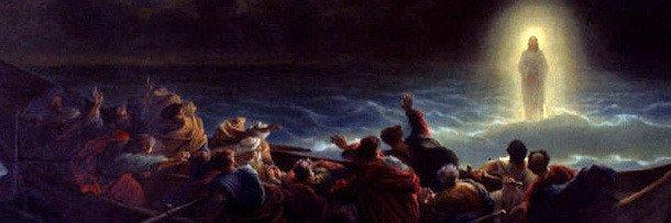 Иисус идёт по воде, чтобы спасти моряков (представление художника)