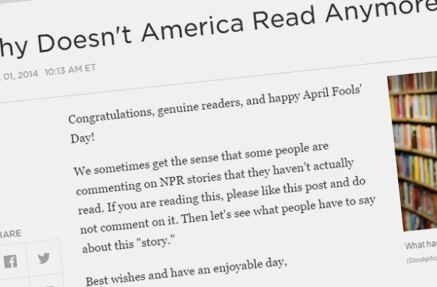 Первоапрельская статья на сайте NPR