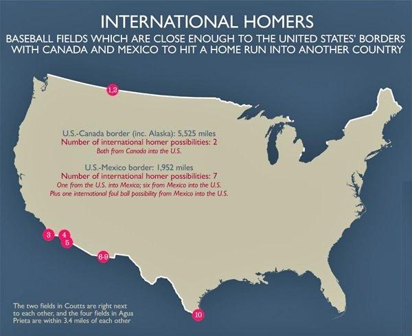 Схема расположения полей для бейсбола, находящихся близко к границе США