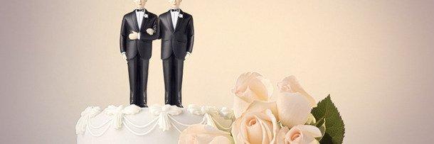 Свадебный торт с фигурками двух женихов