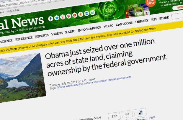 Заголовок статьи об Обаме на сайте NaturalNews.com