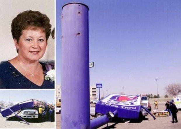 Диана Дюрре и рухнувший знак фастфуда Taco Bell