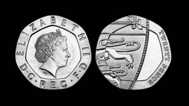 Лицевая и обратная стороны монеты в 20 пенсов