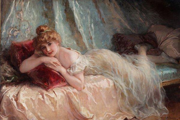 Картина с женщиной на подушках