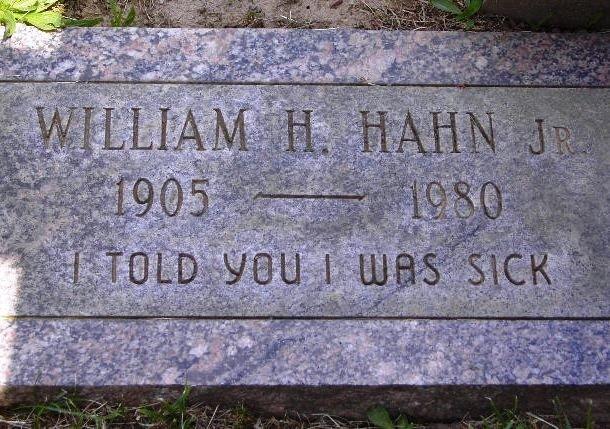 Могильная плита Уильяма Ханы