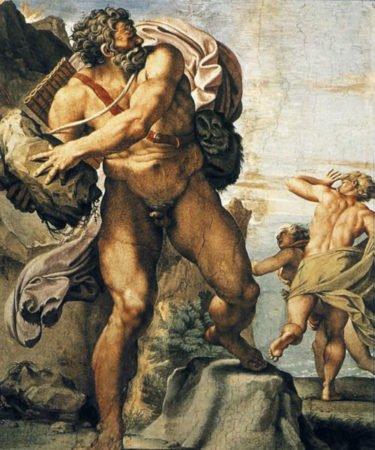Полифем бросает камень в Галатею и Акида