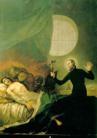 Святой Франциск Борджиа изгоняет демонов из умирающего
