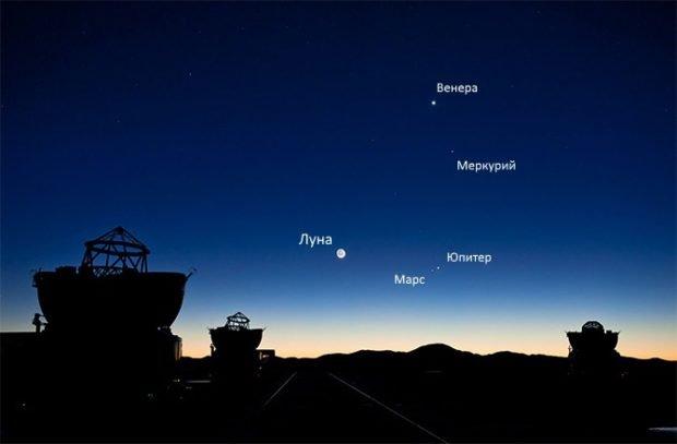 Утреннее небо над обсерваторией Кека, Гавайи, США