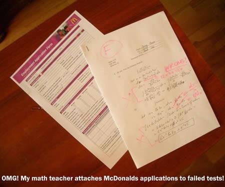 Тест по математике и анкета в макдональдс