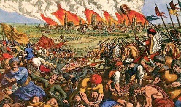 Война на фоне спаленного города