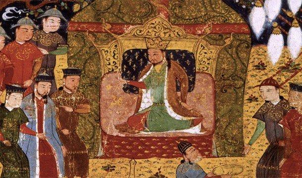 Чингисхан на престоле, вокруг него собрались слуги