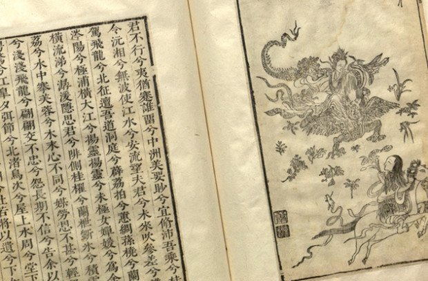 Книга с китайскими иероглифами и картинкой