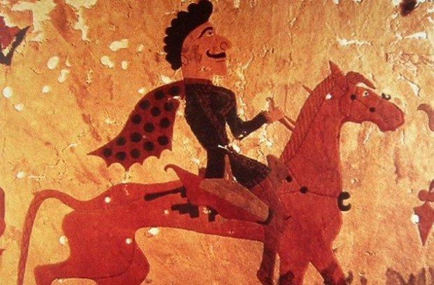 Купец скачет на лошади