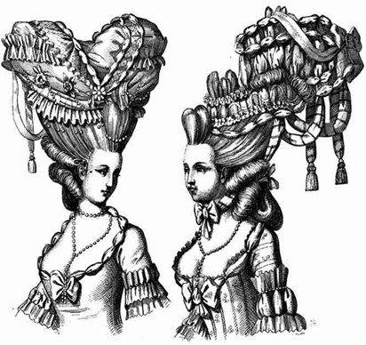 Девушки старых времен с огромными париками
