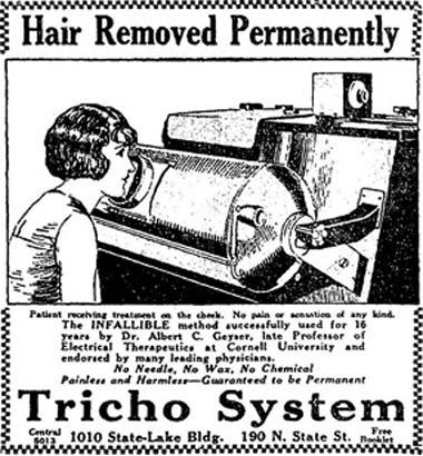Старая брошюра, на которой женщина удаляет волосы ренгеном