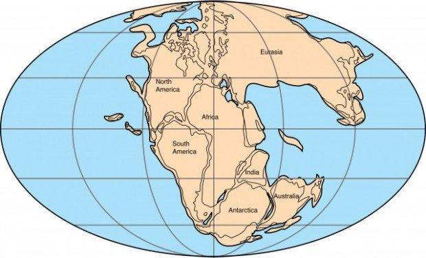 Карта мира, материк Пангея