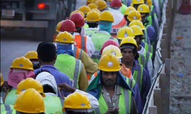 На стройке стадиона в Катаре