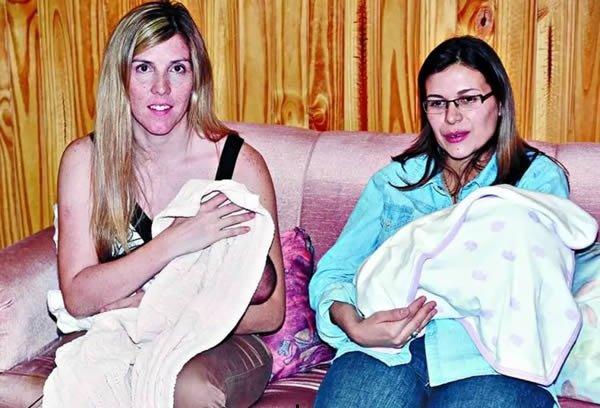 Лорена Гербено и Вероника Техада с дочерьми