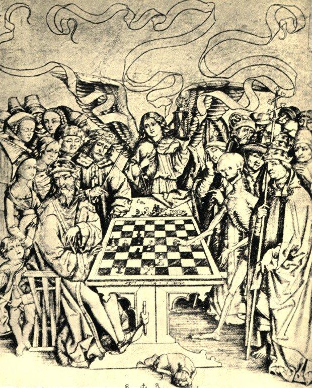 Шахматная партия, изображение в печатной книге