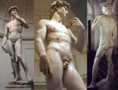 Скульптура Давида в трёх ракурсах