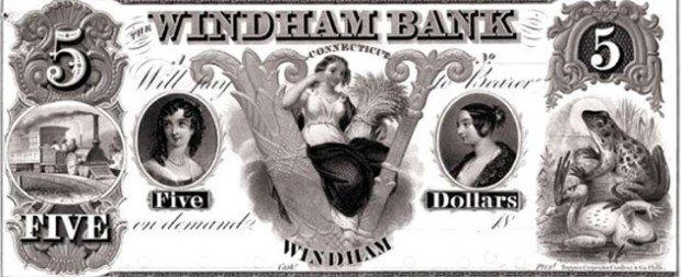 Банкнота номиналом 5 долларов, поступившая в обращение в городе Уиндем в 1755 году