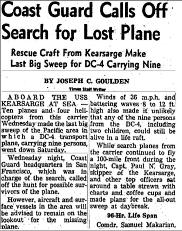Статья об исчезновении DC-4