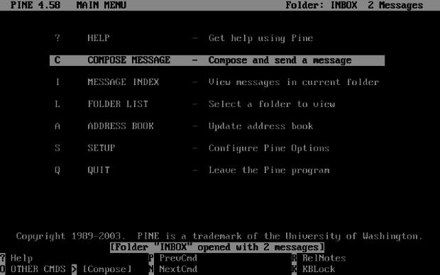 Меню Outlook, 1996 год