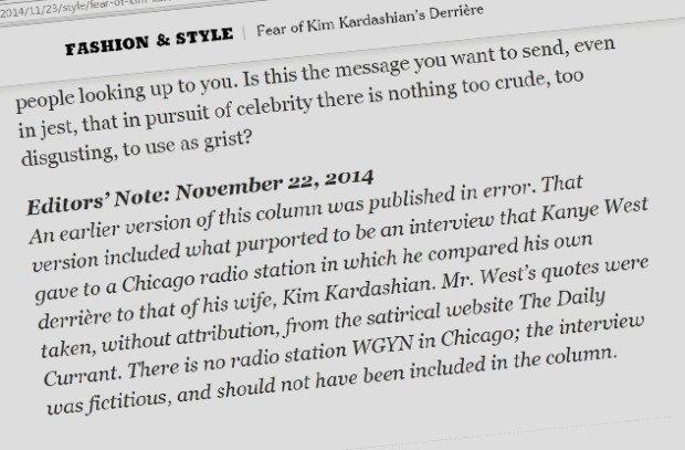 Опровержение ложной статьи о Канье Уэсте на сайте New York Times