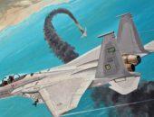 Подбитый самолёт падает в море