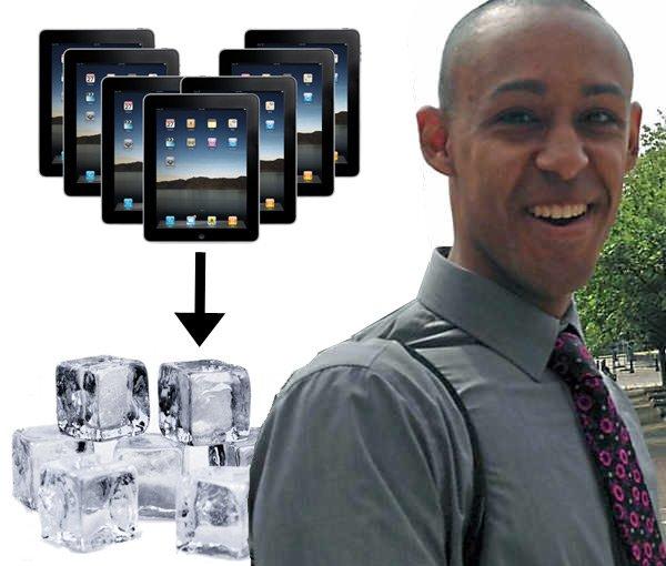 Натан Кэмерон, планшеты iPad и кубики льда