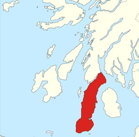 Шотландский полуостров Малл-оф-Кинтайр (выделен красным)