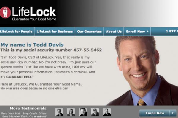 Номер социального страхования исполнительного директора LifeLock