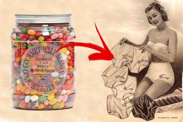 Девушка с нижним бельем и банка с конфетами