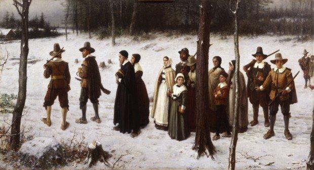 «Ранние пуритане Новой Англии идут в церковь»,Джордж Генри Боутон, 1867 год