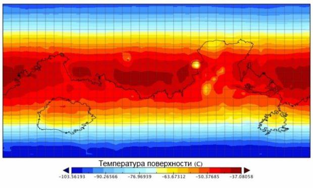 Карта средних температур на поверхности Марса
