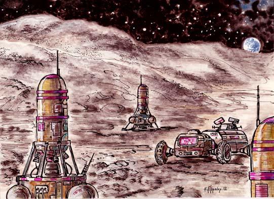 Машины и ракеты на поверхности Луны
