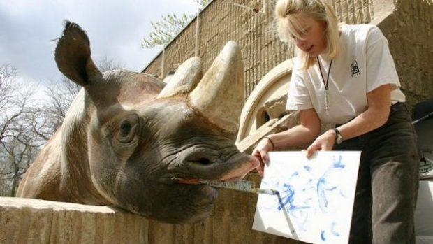 Носорог рисует